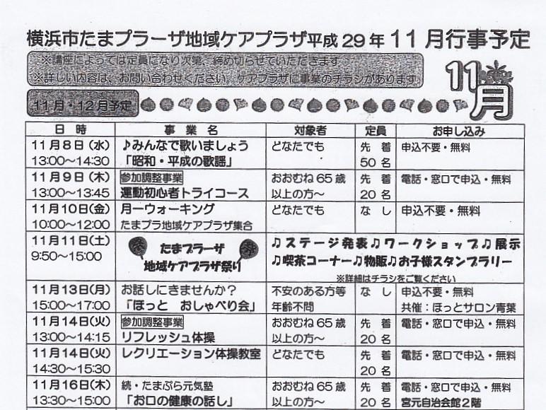 横浜市たまプラーザ地域ケアプラザ11月行事予定