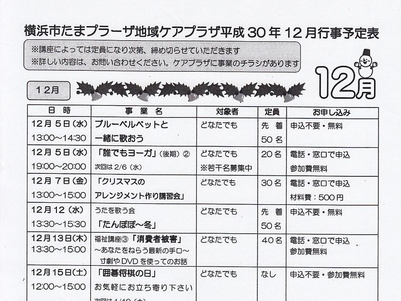 横浜市たまプラーザ地域ケアプラザ平成30年12月行事予定